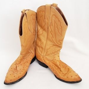 Max Leather Ostrich Cowboy Boots